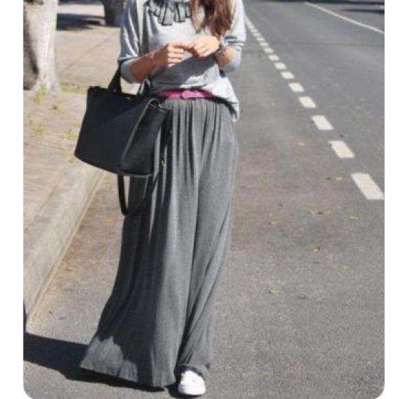 Persun Dresses & Skirts - 2/$10 NWT Persun Gray Flared Maxi Skirt